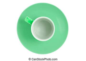 Top view of empty green teacup.