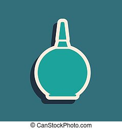 Green Enema icon isolated on green background. Enema with a plastic tip. Medical pear. Long shadow style. Vector Illustration