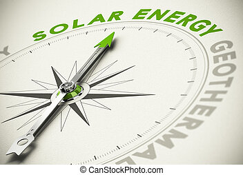 Green Energies Choice - Solar Energy Concept - Compass with...