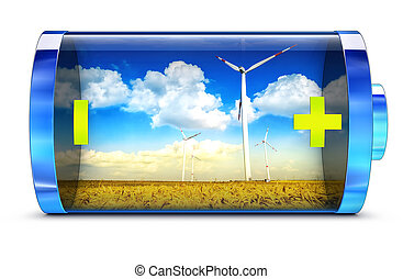 green energy - 3D rendering of a battery
