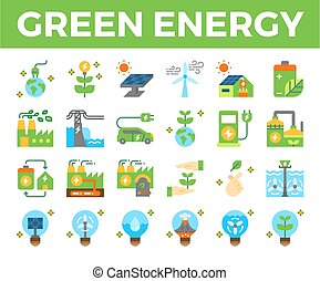 Green energy and ecology flat icon.