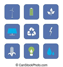 Green energy and recycling icons set