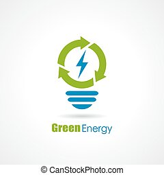 Green energy bulb logo