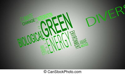 Green energy buzzwords montage in green on white background...