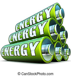 green energy - 3D illustration of a green energy concept