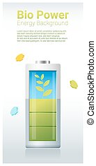 Green energy concept background with bio energy charging battery 2