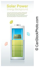 Green energy concept background with solar panel charging battery 2
