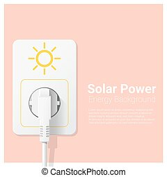 Green energy concept background with solar power and electric plug 1