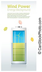 Green energy concept background with wind turbine charging battery 2