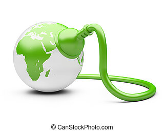 green energy concept. green Earth with  electric plug