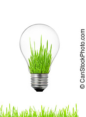 Green energy concept: light bulb with grass inside