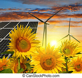 green energy concept - Solar energy panels with wind...