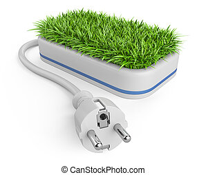 Green energy concept with plug and pot with grass.