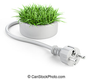 Green energy concept with plug and round pot with grass.
