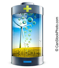 green energy - high resolution rendering of a green energy...