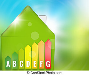 Green Energy-efficient house nature background