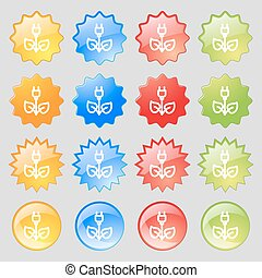green energy electricity icon sign. Big set of 16 colorful modern buttons for your design. Vector