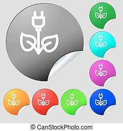 green energy electricity icon sign. Set of eight multi colored round buttons, stickers. Vector