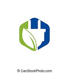 Green energy electricity logo concept. Electric plug icon with leaf.