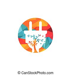 Green energy electricity logo concept. Electric plug icon with tree.