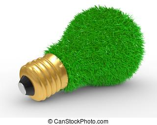 Green energy. Green grass on lightb