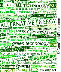 Background illustration of green headlines about alternative energy