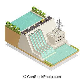 Green Energy Hydropower Isometric Composition - Ecological...