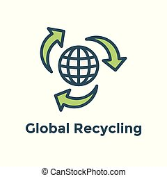 Green Energy icon showing global recycling efforts / clean energy solution
