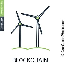 Green Energy Icon Wind Electric Power Generator Icon