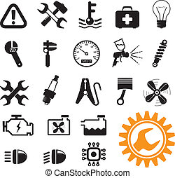 Green energy icons - Car mechanic and service tools, icon ...
