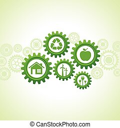 Green energy icons design concept