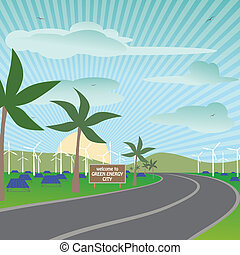 illustration of a city using renewable energy sources for their electricity needs.