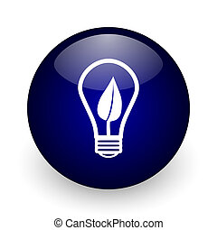 Green energy light bulb blue glossy ball web icon on white background. Round 3d render button.