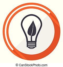 Green energy light bulb flat design orange round vector icon in eps 10