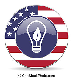 Green energy light bulb usa design web american round internet icon with shadow on white background.