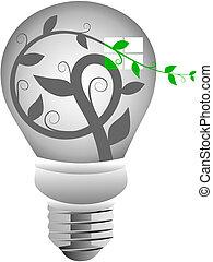 Green Energy Light Bulb Vector