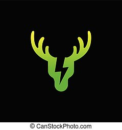 Green energy logo, Deer logo design