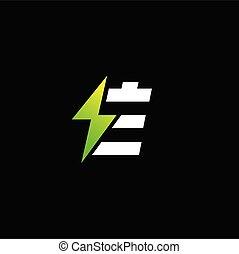 Green energy logo, letter E logo