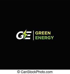 Green energy logo, thunder logo design