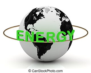 Green energy on a gold ring rotates around the earth on a...