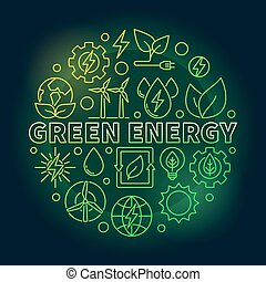 Green energy outline colorful illustration