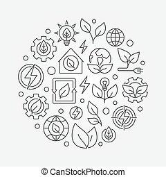 Green energy outline illustration