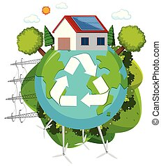 Green energy recycle logo