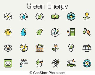 Green energy related vector icon set