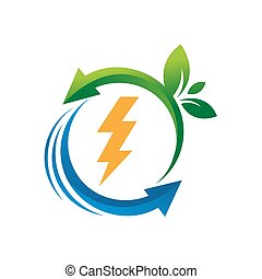 green energy renewable electricity logo vector illustrations