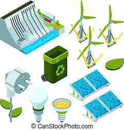 Green energy. Saving factory power electric hydro turbines ecosystem various technology 3d isometric vector symbols