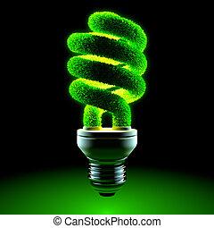 Green energy-saving lamp - The metaphor of energy saving...