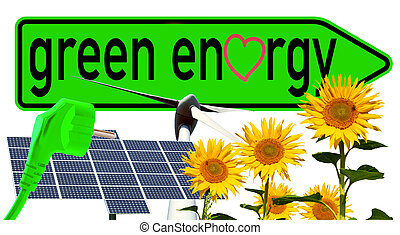 Green energy - Sign with the words green energy