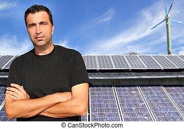 Green energy solar plates man portrait ecology