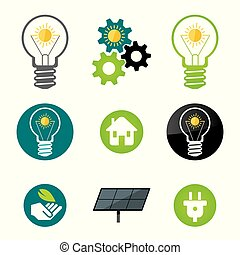 Green energy, solar power icons. - Set of solar power and...